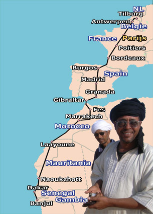 traject naar Gambia door 8 landen