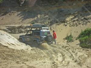 Desert Beagle vast in mul zand