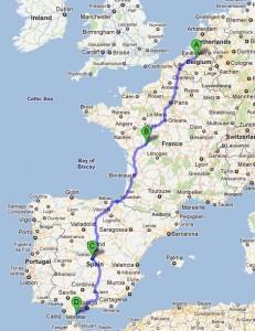 De gevolgde route van Antwerpen naar Sotogrande