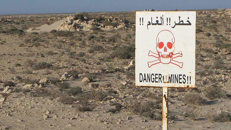 Waarschuwing voor mijnenvelden