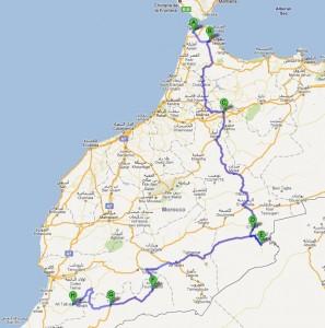 De route van Tanger via Merzouga naar Tafraoute